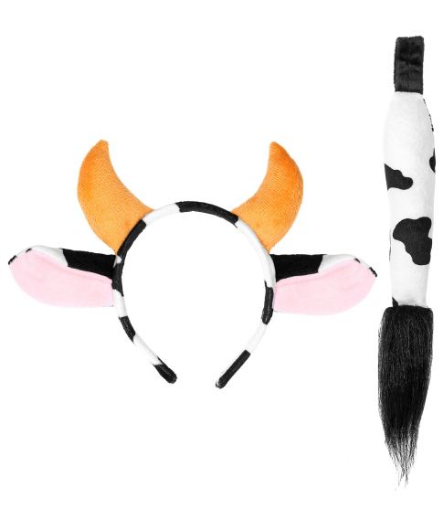 Ko sæt med hale og hårbøjle med ører og horn