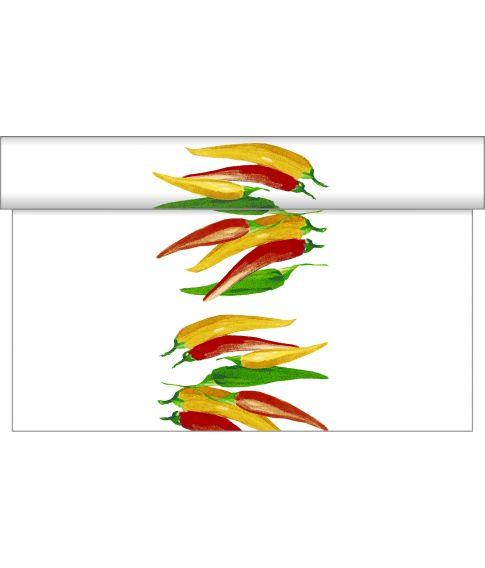 Airlaid Chili bordløber, med chili motiver