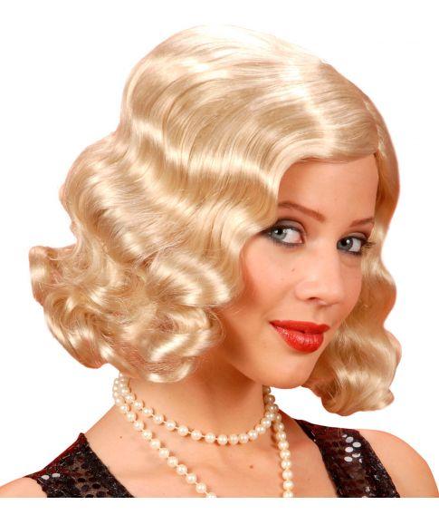Flot blond paryk med halvlangt hår til 20'eren kostumet.