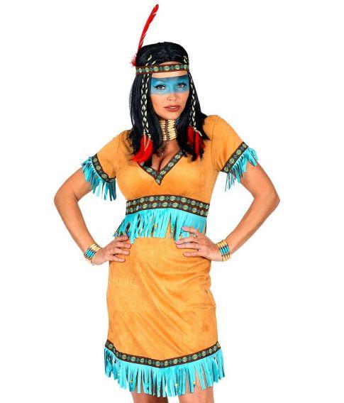 Flot indianer kjole med pandebånd med fjer.