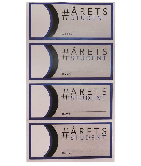 Rulle med 50 stk. blå studenter stickers