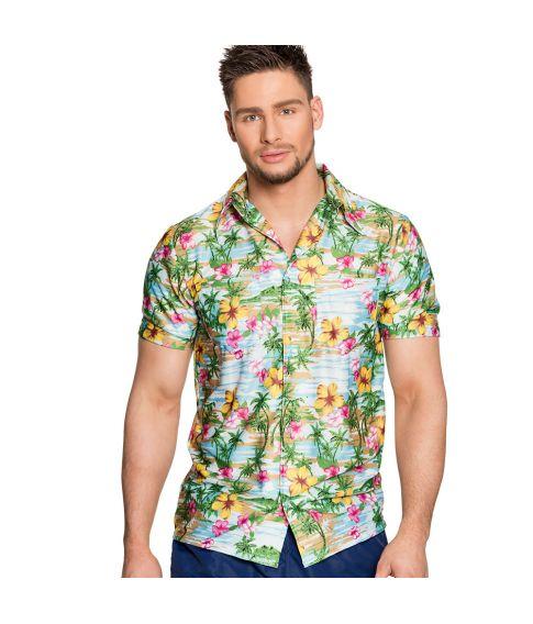 Flot Hawaii skjorte med palmer og blomster