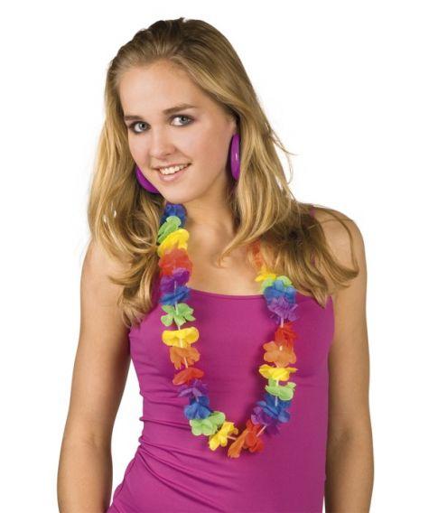 Billige hawaiikranse i flotte farver Rainbow