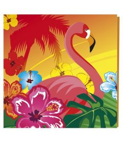 Hawaii servietter med flamingo til hawaii festen.