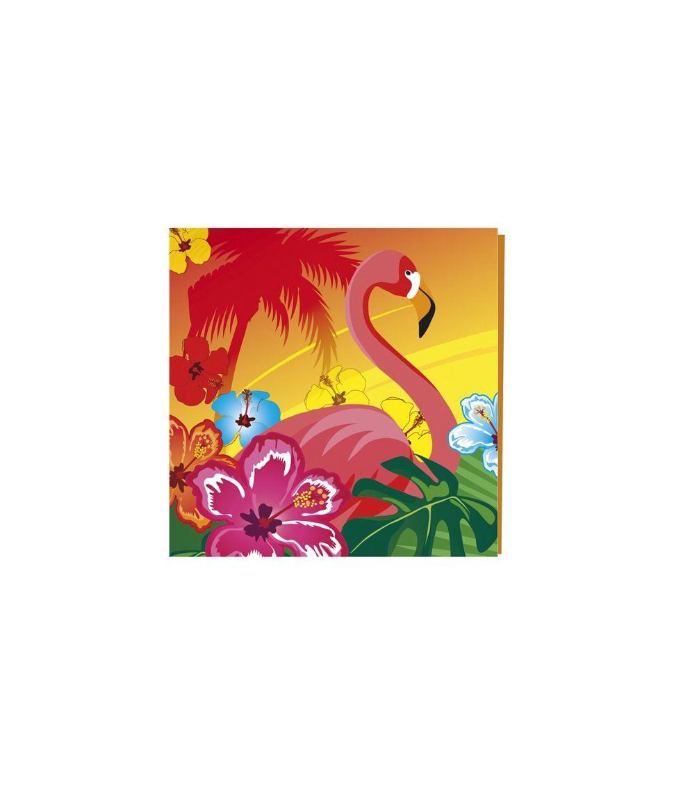 Hawaii servietter med flamingo til hawaii festen.