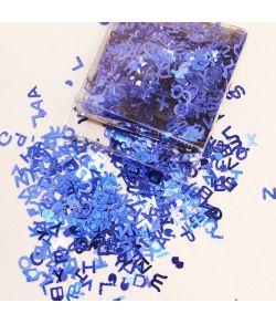Bogstavkonfetti, blå