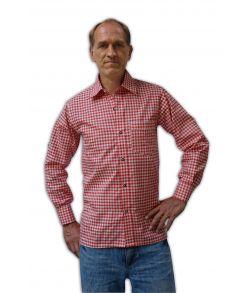 Tyrolerskjorte, rød / hvid