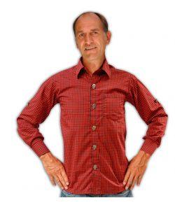 Tyrolerskjorte rød og sort